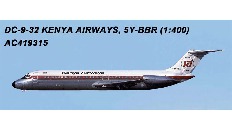 Kenya Airways DC-9-32 5Y-BBR (1:400), AeroClassics Models Item Number AC19315