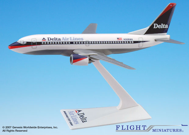 Delta 737-300 Interim Colors (1:200), Flight Miniatures Snap-Fit Airliners, Item Number BO-73730H-012