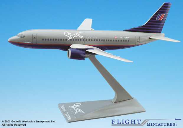 Shuttle by United 737-300 (1:200), Flight Miniatures Snap-Fit Airliners, Item Number BO-73730H-015