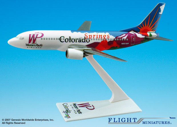 "Western Pacific 737-300 ""Colorado"" (1:200), Flight Miniatures Snap-Fit Airliners, Item Number BO-73730H-401"