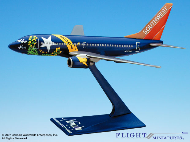 "Southwest 737-700 ""Nevada"" (1:200), Flight Miniatures Snap-Fit Airliners, Item Number BO-73770H-400"