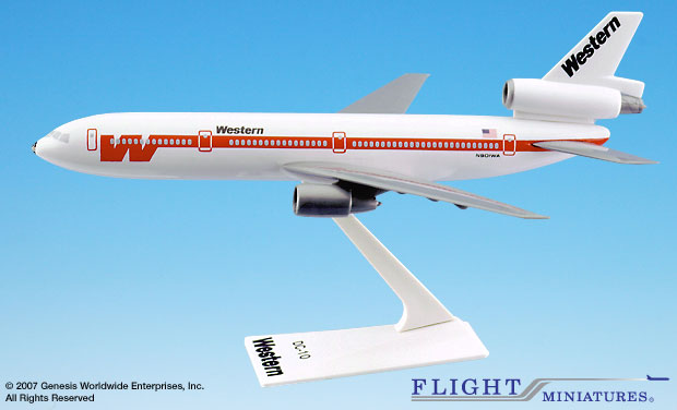 "Western ""White Scheme"" DC-10 (1:250), Flight Miniatures Snap-Fit Airliners, Item Number DC-01000I-009"