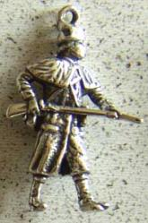 1776 Rev War Militia Solder Charm Sterling, Weingarten Gallery Item Number P-1519