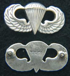 Basic Paratrooper Mess Dress Badge Sterling Oxidized, Weingarten Gallery Item Number P-2123X