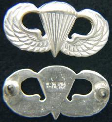 Basic Paratrooper Mess Dress Badge Sterling, Weingarten Gallery Item Number P-2123