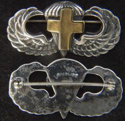 WW II Chaplain Paratrooper Wing Sterling Pin Back, Gold Plated Latin Cross, Weingarten Gallery Item Number P-2237G