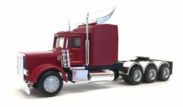 Peterbilt Triple Drive Cab with Chrome Fenders in Red (1:87)