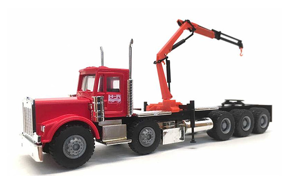 Kenworth W-900 Twin-Steer Tri-Drive Truck in Red with Knuckle Boom Crane (1:87), Promotex Item Number PRX006385R