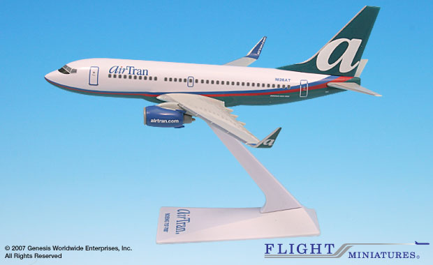 AirTran (04-Cur) 737-700 (1:200), Flight Miniatures Snap-Fit Airliners Item Number BO-73770H-021