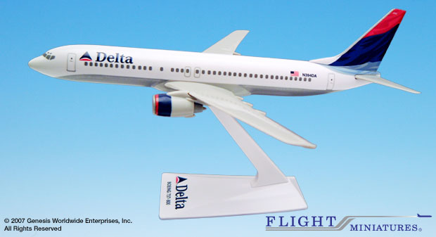 Delta (00-07) 737-800 (1:200), Flight Miniatures Snap-Fit Airliners Item Number BO-73780H-023