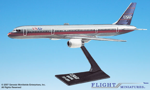"US Air 757-200 ""Silver"" (1:200), Flight Miniatures Snap-Fit Airliners Item Number BO-75720H-015"