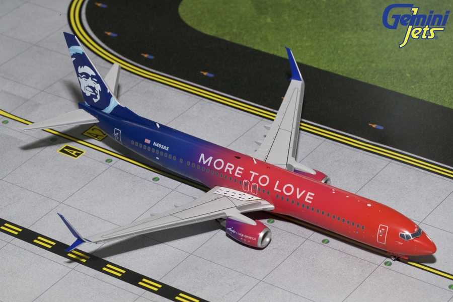 "Alaska Airlines B737-900(S) ""More to Love"" N493AS (1:200), GeminiJets 200 Diecast Airliners Item Number G2ASA696"