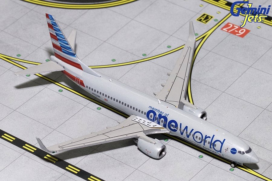 "American B737-800 wingles ""One World Livery"" N836NN (1:400), GeminiJets 400 Diecast Airliners Item Number GJAAL1734"
