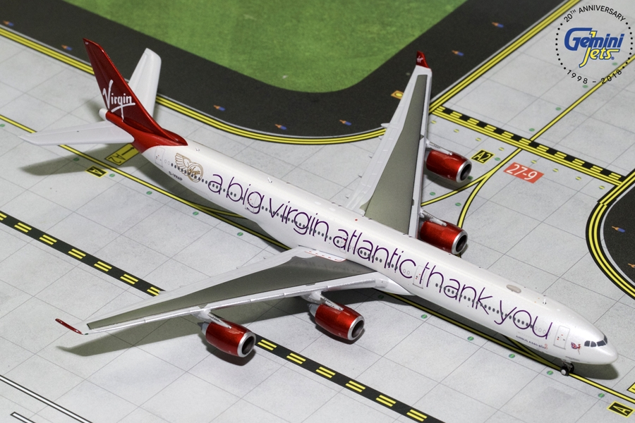 "Virgin Atlantic A340-600 ""A Big Thank You"" G-VNAP (1:400), GeminiJets 400 Diecast Airliners Item Number GJVIR1766"