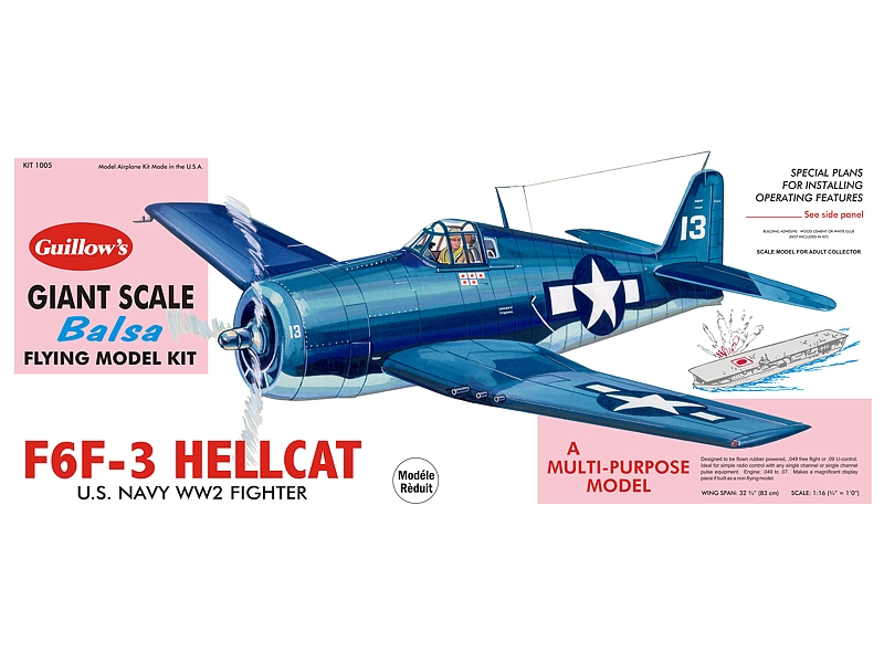 "F-6F3 Hellcat 32"", Guillow Item Number GUI1005"