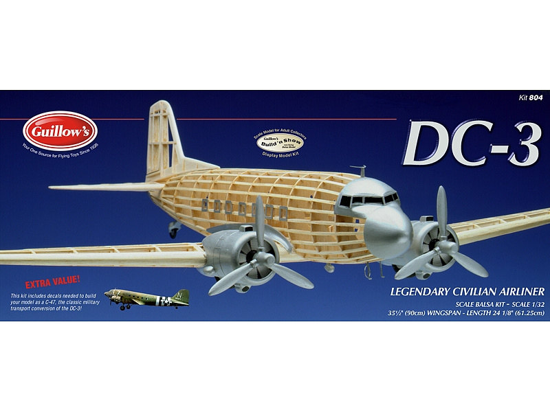 "Douglas Dc-3 34"", Guillow Item Number GUI804"