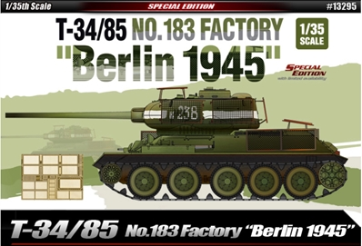 T-34/85 No.183 Factory Tank Berlin 1945 1:35, Academy Hobby Plastic Model Kits Item Number ACD13295