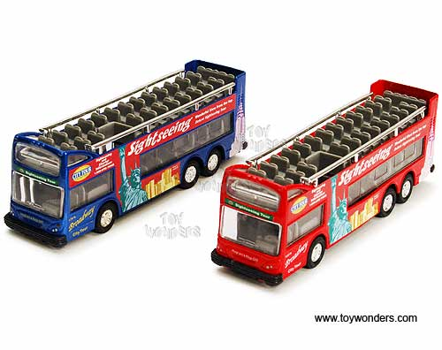 "NYC Sightseeing Double Decker Bus Open Top (6"", Red and Blue),  Item Number 2168D"