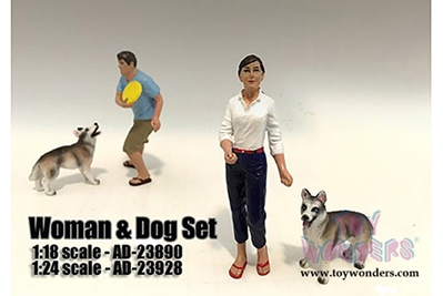 Woman and Dog 2 Piece Figure Set For 1:24