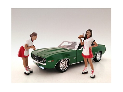 Carhop Waitress Brittany and Grace 2 piece Figurine Set for 1/24