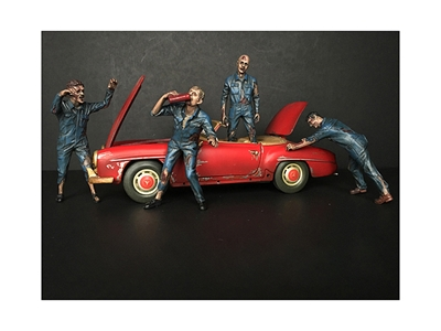 "Zombie Mechanics 4 Piece Figurine Set ""Got Zombies?"" for 1/18"