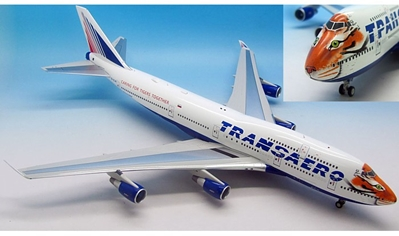 "Transaero Airlines 747-412, Amur Tiger Center ""Caring for Tigers Together"" EI-XLN with stand (1:200) , InFlight 200 Scale Diecast Airliners Item Number IF7440915"
