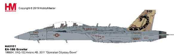 EA-18G Growler Die Cast Model VAQ-132, Aviano AB, 2011, Operation Odyssey Dawn (1:72) by Hobby Master Diecast