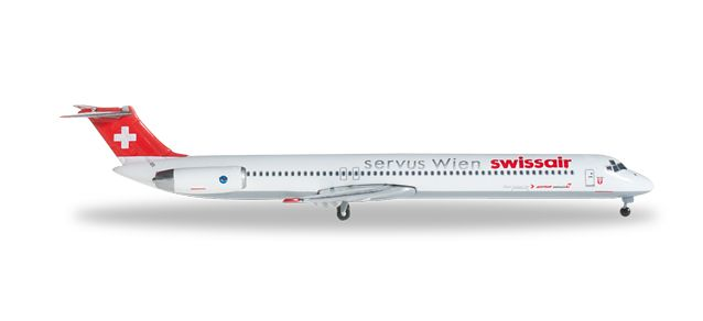 "Swissair MD-81  HB-IND ""Bachenbulach""  Servus Wien (1:500), Herpa 1:500 Scale Diecast Airliners Item Number HE526982"