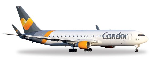 "Condor 767-300ER D-ABUA (1:500) ""Sunny Heart Livery"", Herpa 1:500 Scale Diecast Airliners Item Number HE527521"