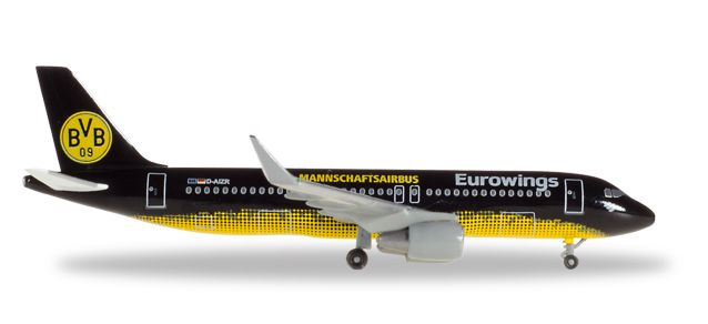 "Eurowings Airbus A320 ""BVB Mannschaftsairbus"" D-AIZR (1:500), Herpa 1:500 Scale Diecast Airliners Item Number HE529600"