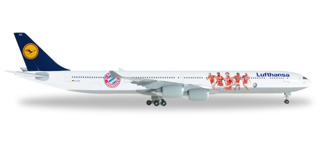 Lufthansa 340-600 FC Bayern Audi Summer Tour 2016 (1:500) D-AIHK, Herpa 1:500 Scale Diecast Airliners Item Number HE529747