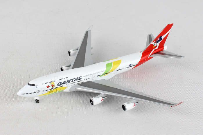 "Qantas 747-400 ""Spirit Of Australian Team - Rio 2016"" VH-OEJ (1:500), Herpa 1:500 Scale Diecast Airliners Item Number HE529914"