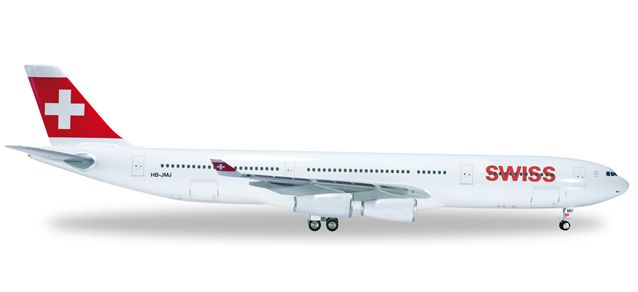 "Swiss International A340-300 (1:200) HB-JMJ ""Zug"", Herpa 1:200 Scale Diecast Airliners Item Number HE556712"
