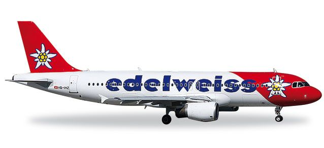 "Edelweiss A320 HB-IHZ ""Victoria"" (1:200), Herpa 1:200 Scale Diecast Airliners Item Number HE557146"
