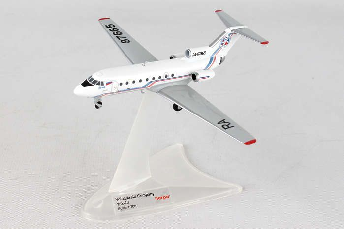 "Vologda Air Company Yakovlev Yak-40 ""Ded Moroz"" RA-87665 (1:200), Herpa 1:200 Scale Diecast Airliners Item Number HE558235"