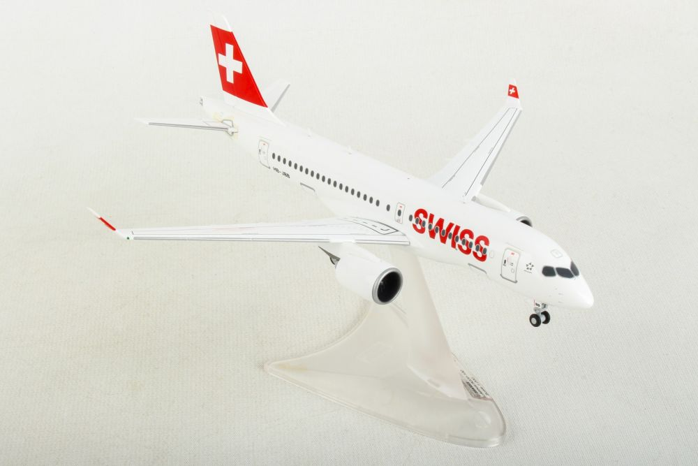 "Swiss International Air Lines Airbus A220-100 HB-JBB ""Canton de Geneve"" (1:200) by Herpa 1:200 Scale Diecast Airliners Item Number HE558471-001"