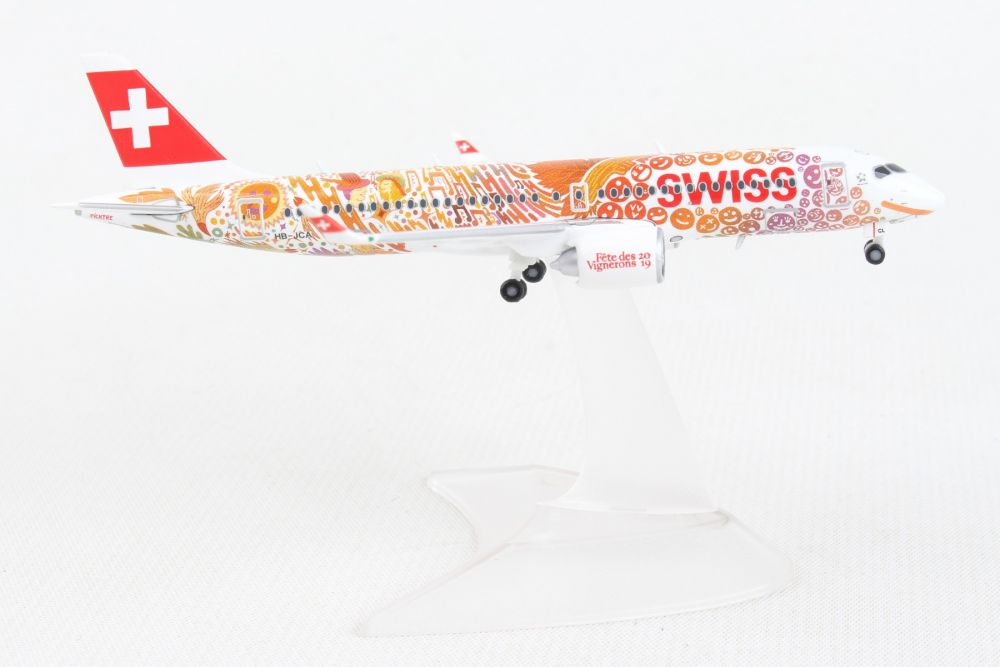 "Swiss International Air Lines A220-300 ""Fete des Vignerons"" (1:400) by Herpa 1:400 Scale Diecast Airliners"
