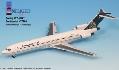 Continental 727-200 N77780 (1:200), InFlight 200 Scale Diecast Airliners Item Number IF722024