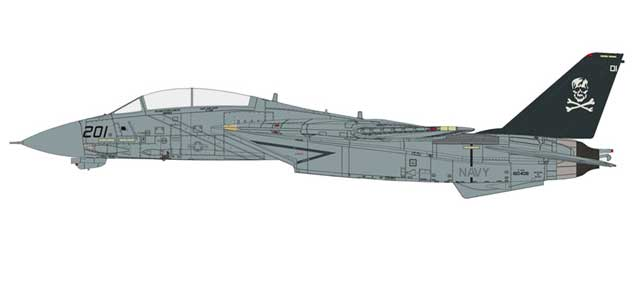 F-14A Tomcat Diecast Model, USN VF-84 Jolly Rogers, AJ201, USS Theodore Roosevelt (1:72) - With marked panel lines