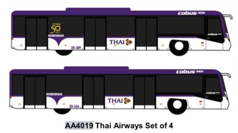 Airport Bus, Thai Airways Set of 4 (1:400)