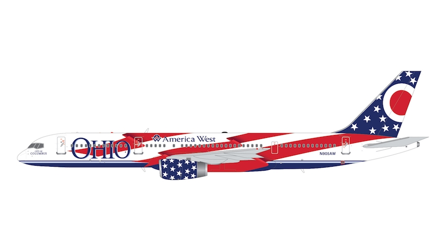 """America West Airlines B757-200 N905AW """"City of Columbus"""" (Ohio) (1:200)"""