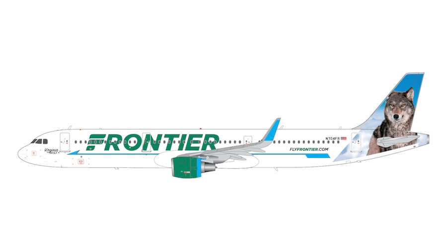 """Frontier Airlines A321 N704FR """"Virginia the Wolf"""" (1:200)"""