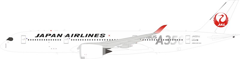 "Japan Airlines Airbus A350-900 JA02XJ ""Silver"" With Stand (1:200)"
