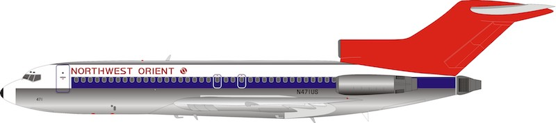 Northwest Orient Airlines Boeing 727-100 N471US Polished (1:200)