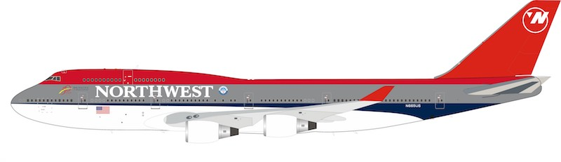 Northwest Airlines Boeing 747-400 N665US With Stand (1:200)