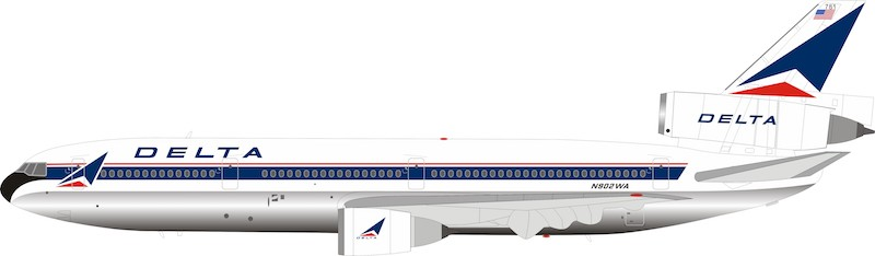 Delta Air Lines DC-10-10 N902WA Polished With Stand (1:200)