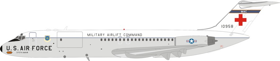 US Air Force McDonnell Douglas C-9A Nightingale (DC-9-32CF) 68-10958 With Stand (1:200)
