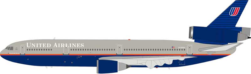 United Airlines McDonnell Douglas DC-10-10 N1835U with stand (1:200)