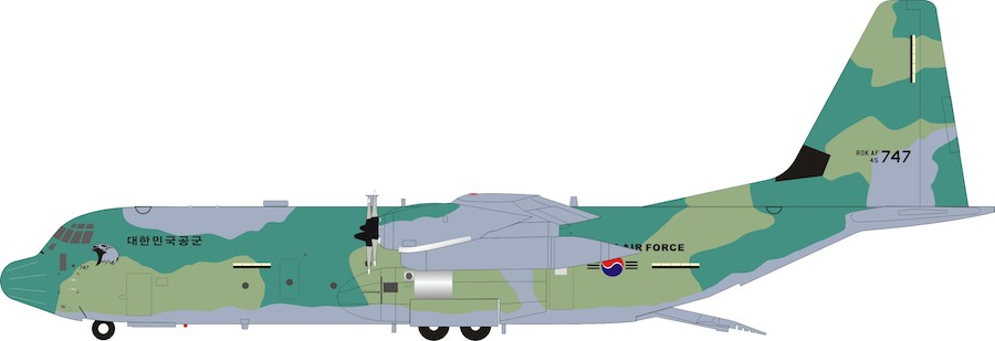 South Korean Air Force Lockheed Martin C-130J-30 Hercules (L-382) 45-747 With Stand (1:200)