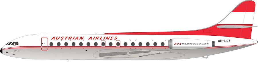 Austrian Airlines Sud SE-210 Caravelle VI-R OE-LCA With Stand (1:200)
